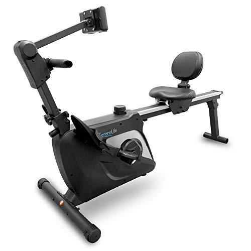 SereneLife 2-in-1 Rowing Machine & Bike - 8 Magnetic Resistance Levels, 264lbs Capacity - Foldable & Portable Cardio Fitness Trainer with LCD Monitor - Promotes Weight Loss, Strength, Stamina Building