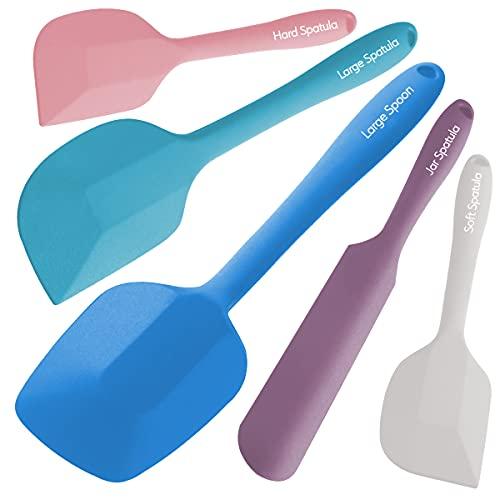 Wanbasion 5 Piezas color Espatula de Silicona para Cocina Repostería Goma, Juego de Espatula de Silicona para Cocina Resistente, Espatula de Silicona para Cocina Profesional Grande sin Bpa