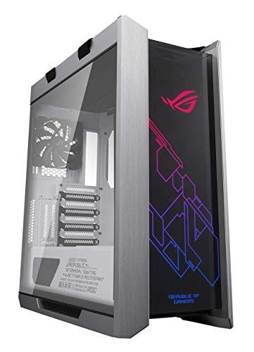 Asus ROG Strix Helios White Edition ATX Mid Tower Gaming Case, con tre pannelli di vetro temperato fumé e raffinata costruzione in alluminio spazzolato, e tecnologia Aura Sync