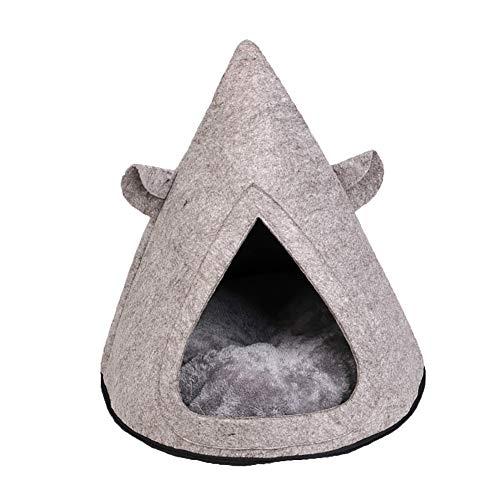 Mooie koe hoorn driehoek afneembaar voelde warm kussen hond kat huisdier huis kennel - koffie, 1size, Grijs