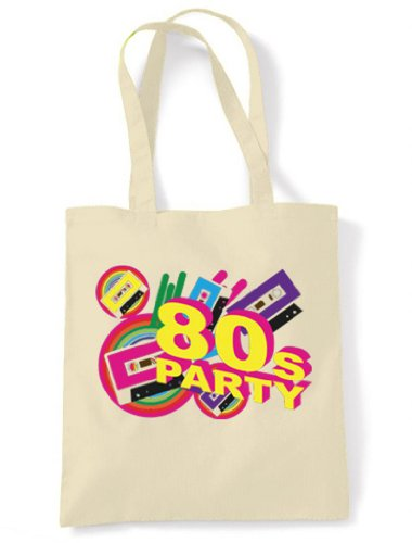 80s Party Tote / Shoulder Bag. Resusable, environmentally friendly. Colourful design. Strong handles