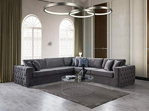 Modern Symmetrical Velvet Corner Sectional 118