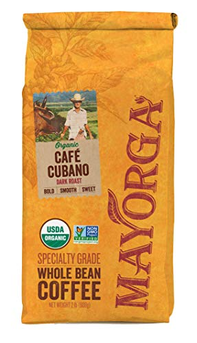 Mayorga Organics Café Cubano, Dark Roast Whole Bean Coffee, 2lbs Bag, Specialty-Grade, 100% USDA Organic, Non-GMO Verified, Direct Trade, Kosher