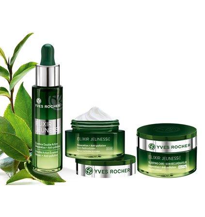 Yves Rocher ELIXIR JEUNESSE Pflege-Set, Detox Gesichtspflege-Set gegen Umwelteinflüsse, mit Tages- & Nachtpflege und Repair-Serum