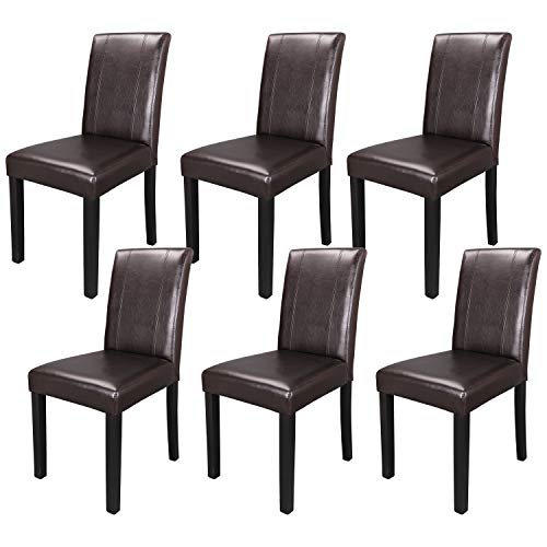 ZENY Set of 6 Wood Leatherette Padded Parson Chair, Dining Chair Brown Furniture Urban Style
