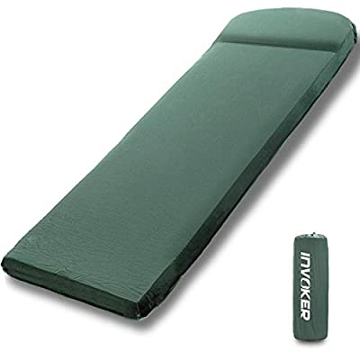 INVOKER Camping Sleeping pad – 3inch UltraThick Memory Foam Self Inflating Camping Mat with Pillow Fast Inflating in 25s for Backpacking Traveling and Hiking Air Mattress – Camp Sleep Pad (Green)