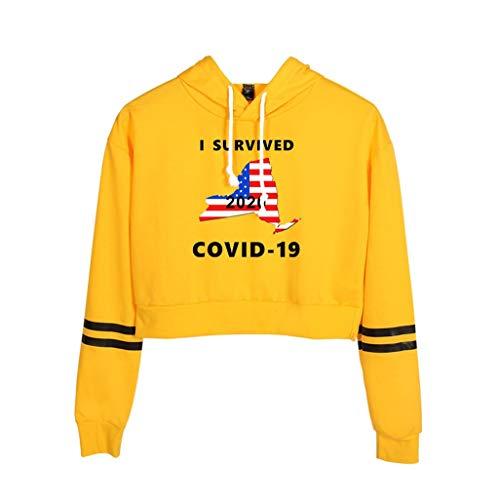 Rugby clothing boutique Q COVID-19 Pullover, 2D Impreso Ocasional de la Muchacha Exposed Ombligo Manga Larga con Capucha suéter (Color : Yellow, Size : L)