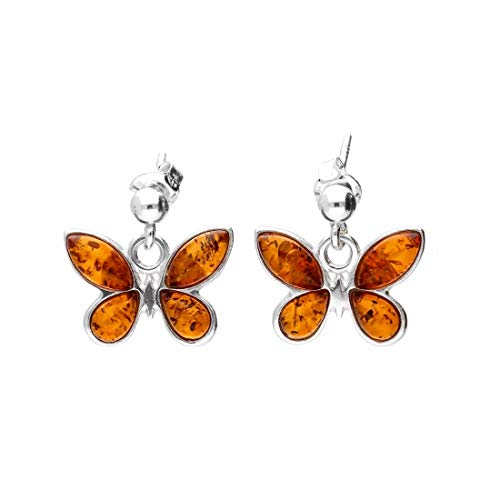 MILENA Earrings Silver and Baltic Amber - Butterfly