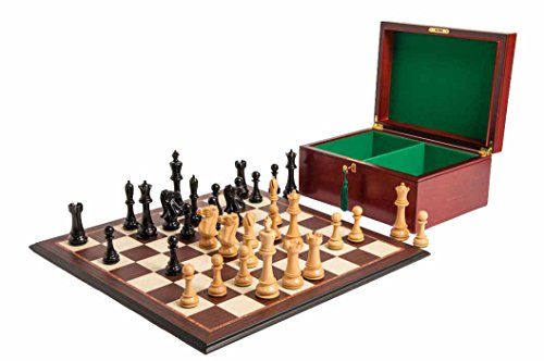 The 6' St. Petersburg Series Chess Set, Box, Board Combination - Genuine Ebony and Natural Boxwood