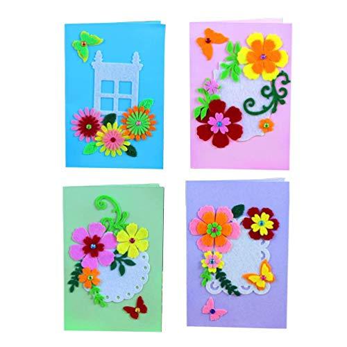 Exceart 4 Stück Kartenherstellung Kits DIY Handgemachte Grußkarte Kits Sammelalbum Liefert Kit Karten Und Umschläge für Mädchen Kinder (Zufälliger Stil)