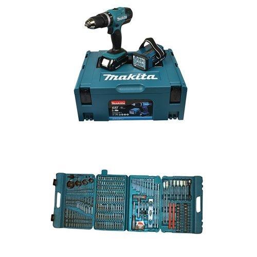 Makita DHP453RYLJ Trapano Avvitatore a Percussione, Batteria 18 V +  Makita P-44046 Set di Punte per Trapano/Avvitatore, 216 Pezzi