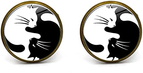 Cat Cufflinks Yin and Yang Cats Black and White Cuff Links