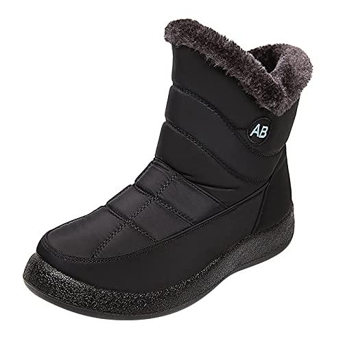 QIUTIANQ Botas De Invierno para Mujer Plus Botas De Nieve Cálidas De Vellón Calzado De Algodón Acolchado Antideslizante De Gran Tamaño Botines Negros con Plataforma Y Cremallera (Negro, 38)