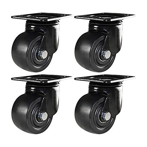CASTOR Confezione da 4 Ruote girevoli da 50 mm con Freno Ruote girevoli per impieghi gravosi Ruota in Gomma PU per mobili Carrello da Tavolo Banco da Lavoro Garage