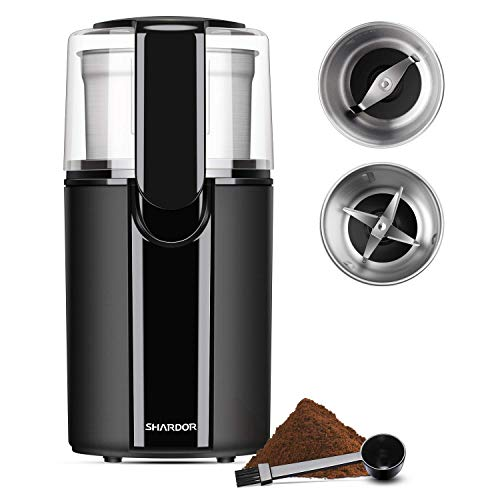 SHARDOR Coffee & Spice Grinders Electric, 2 Removable Stainless Steel Bowls for Dry or Wet Grinding, Black