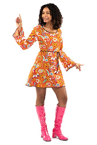 Original Replicas Kurzes Kleid 60er Jahre Hippie Soul Disco Kostüm - 70er Paisley Flower Power Party M - XS bis 3XL