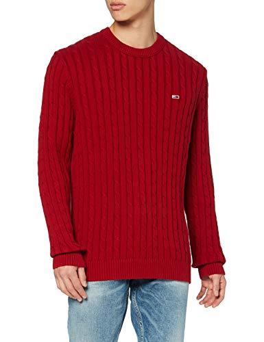 Tommy Jeans TJM Essential Cable Sweater Suter, Rojo Vino, L para Hombre