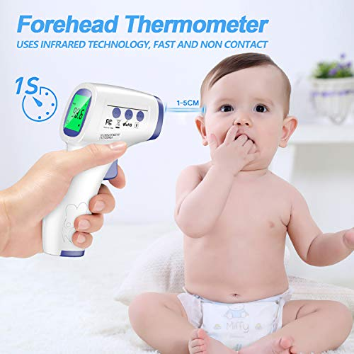 No-Contact Infrared Forehead Thermometer for Adults Kids and Babies