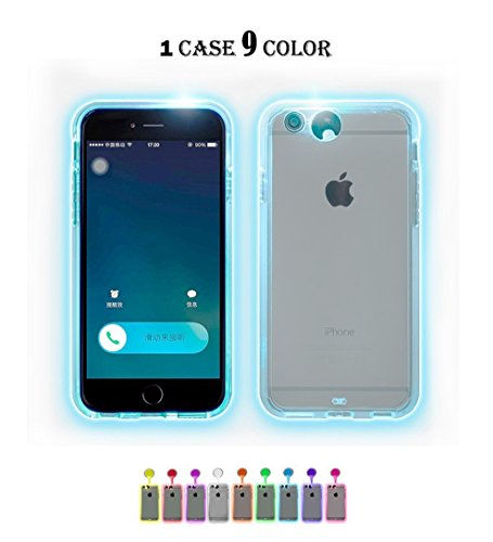 Winhoo iPhone 6s Plus Case,iPhone 6 Plus Case, 9 Color in 1 LED Flash Case,Can Change 9 Incoming Call LED Flash Light Alerts Clear Back Case Cover for iPhone 6/6S Plus 5.5 inch