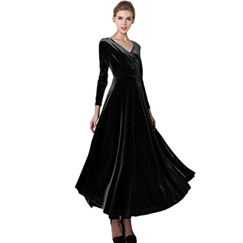 Elecenty Damen Samtkleid Winter Partykleid Kleider Langarm Tief V-Ausschnitt Solide Cocktailkleider Frauen Mode Maxi-Tuniken Kleid Abendkleider...