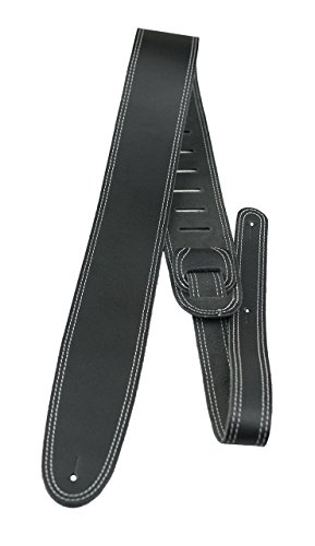 """Perri's Leathers Double Stitched Leather Guitar Strap, Black, Soft Leather Backing, Adjustable Length 44.5"""" To 53"""", Comfortable, 2.5"""" Wide"""