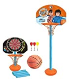 IndusBay 2 in 1 Basketball Dart Shooting Game Toy Set - Portable Height Adjustable Basketball Toy Set for Kids at Home & Outdoor with Hoop Basket , Pole Stand , Basketball