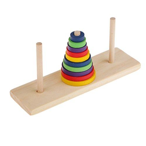 B Blesiya Torre di Legno Stile Indiano Puzzle Educativo Giocattolo dei Bambini Hanoi IQ Materiali Didattici