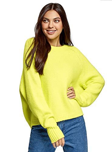 oodji Ultra Mujer Jersey de Punto con Cuello Redondo, Amarillo, ES 38 / S