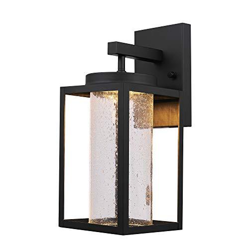 Globe Electric 44227 Sutherland - Aplique de pared para exteriores (8,5 W, LED), Moderno, 13.02', Negro con cristal de burbujas transparente.