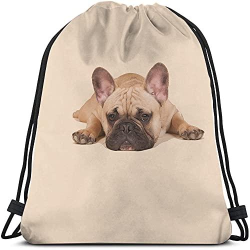 Beabes Bulldog Drawstring Bags Backpack Bag Frenchie French Bulldog Animal Dog Wildlife Funny Adorable Puppy Pet Sport Gym Sack Drawstring Bag String Bag Yoga Bag for Men Women Boys Girls