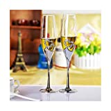 KJGHJ 2 PCS/Set Crystal Wedding Toasting Champagne Flutes Glasses Cup Wedding Party Marriage Decoration Cup For Gift Wine Drink, Champagne Flutes (Capacity : 200ml)
