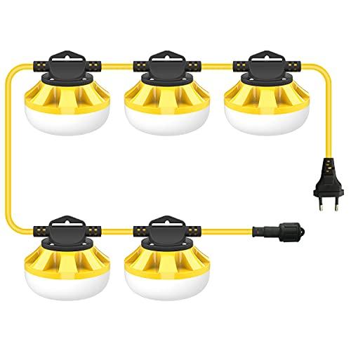 50W led baustrahler 5000lm, Bomcosy 50FT Superhelle LED Arbeitsscheinwerfer, IP65 Wasserdichte Industriebeleuchtung, 5000K Baustellenleuchten zum Dekorieren, Keller, Garage