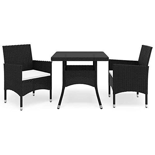 3er Set Tisch- und Stuhl Set Loungemöbel aus Poly Rattan,Tisch mit Glasplatte & 2 Sessel mit Sitzkissen,Wetterfeste Balkonset Gartenmöbel Essgruppe Sitzgruppe für Garten, Balkon Terrasse【DE Lager】