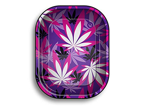 Vip Vape Best Buds Metal Rolling Tray Small Motiv: Pink Weed Leaves, 14 x 18 x 2 cm