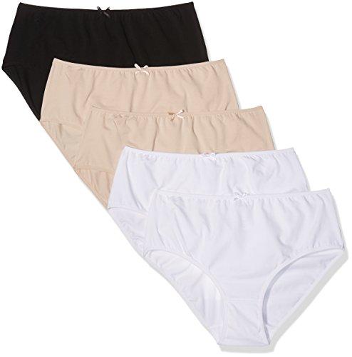 Ulla Popken Große Größen Damen Taillenslip Slip, 5er Pack Basic 70038490, Einfarbig, Gr. 60 (Herstellergröße: 62+), Mehrfarbig (multicolor 90)