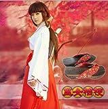 WSJDE Anime Inuyasha Kikyo Kimono Conjunto Completo Disfraz de Cosplay Disfraz de Halloween Top + Falda + Zuecos + Calcetines Disfraz de S con Zueco
