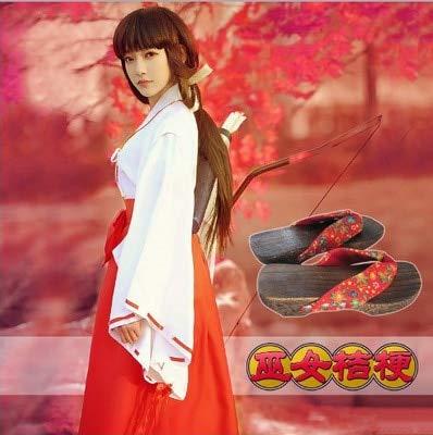 WSJDE Anime Inuyasha Kikyo Kimono Set Completo Costume Cosplay Costume di Halloween Top + Gonna + Zoccoli + Calze M Costume con Zoccolo