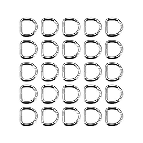 DyniLao 25pcs Metal D-Ring 0.8'(20mm) D-Buckles Buckle for Hardware Bags Belts DIY Crafts Accessories Silver Tone