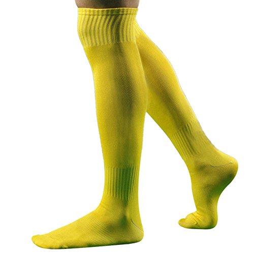 Doublehero Herren Sportsocken Fußball Lange Socken,Männer Mode Einfarbig über Knie hoch Socke Baseball Basketball Baseball-Socken Strümpfe 43 cm