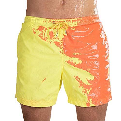 Bañadores Que cambian de Color, Playa Sensible al Cambio de Color Sensible a la Temperatura para Hombres Pantalones de baño Traje de baño de Verano Bañadores de Surf