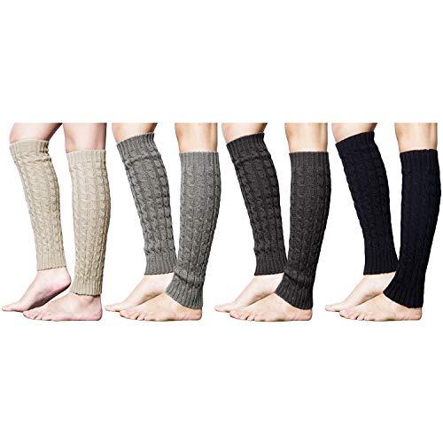 Loritta 4 Pairs Women Knit Leg Warmers Winter Warm Long Boot Socks, Multi 0A