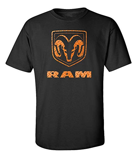 Camiseta adulta de manga curta com logotipo Dodge Ram Trucks preta, Preto, M