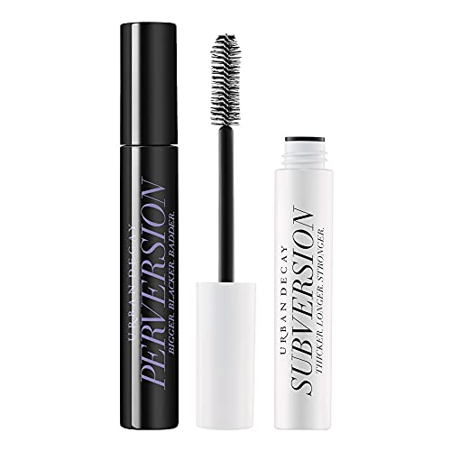 Urban Decay Mascara Set - Perversion Volumizing Mascara (Intense Black) + Subversion Eyelash Primer (White) - For the Ultimate Eyelash Volume & Length