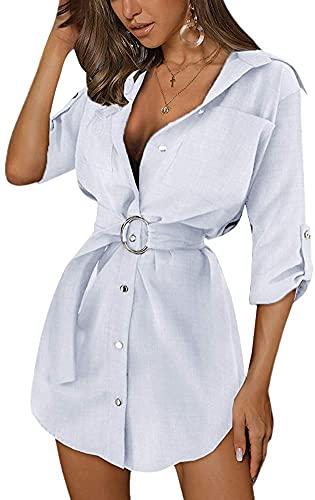 Voracale Vestido liso de media manga vestido de cuello en V mujer vestido elegante camisas de verano femeninas vestido corto sexy de noche de noche, Color blanco., M