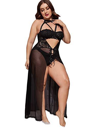 Floerns Women's Plus Size Sexy Lace Sleeveless Split Long Mesh Lingerie Dress A Black 2XL