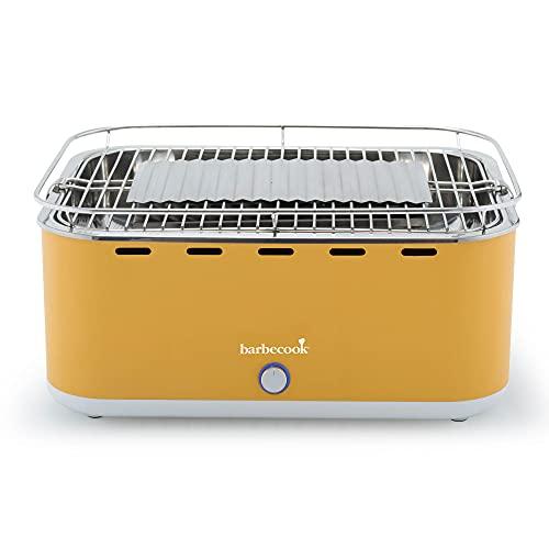 barbecook Rauchfreier Holzkohlegrill Tischgrill mit Tragetasche geeignet für Balkon als Outdoor Camping-Grill mit eingebauten Gebläse, spülmaschinen-fest, Gelb
