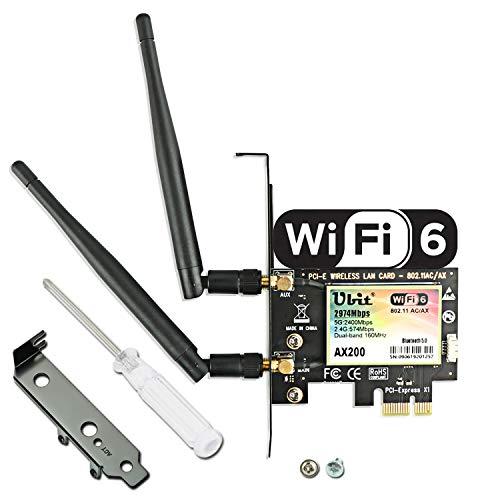 WiFi 6 PCIe WiFi-Karte | Bis zu 2974 Mbit/s mit Bluetooth 5.0 | Intel AX200 Chip,MU-MIMO,OFDMA,Extrem Niedrige Latenz | 160MHz 802.11AX Wireless Dual Band WLAN Karte (für Windows 10, 64-Bit)