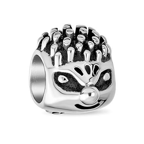 Cute Whimsical Hedgehog Animal Charm Bead For Women Teens Oxidized .925 Sterling Silver Fits European Bracelet