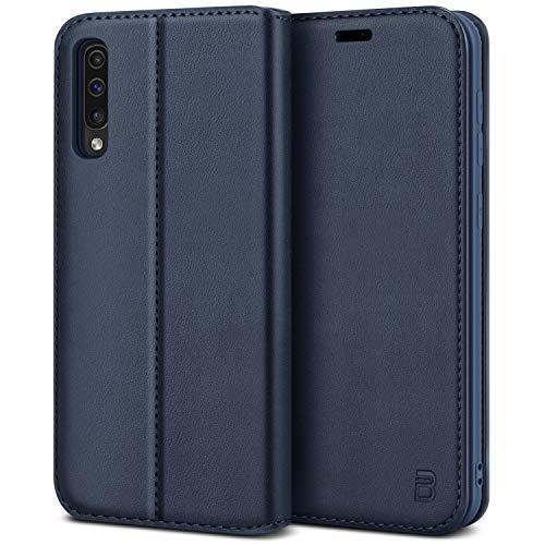 BEZ Handyhülle für Samsung A50 Hülle, Samsung Galaxy A30s Hülle, Premium Tasche Kompatibel für Samsung A50/ A30s, Schutzhüllen aus Klappetui mit Kreditkartenhaltern, Ständer, Magnetverschluss, Blaue
