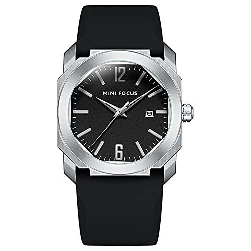 JTTM Reloj De Cuarzo para Hombre De Negocios De Moda con Cronógrafo Impermeable De Correa De Silicona para Hombre, Fecha Automática,Steel Black